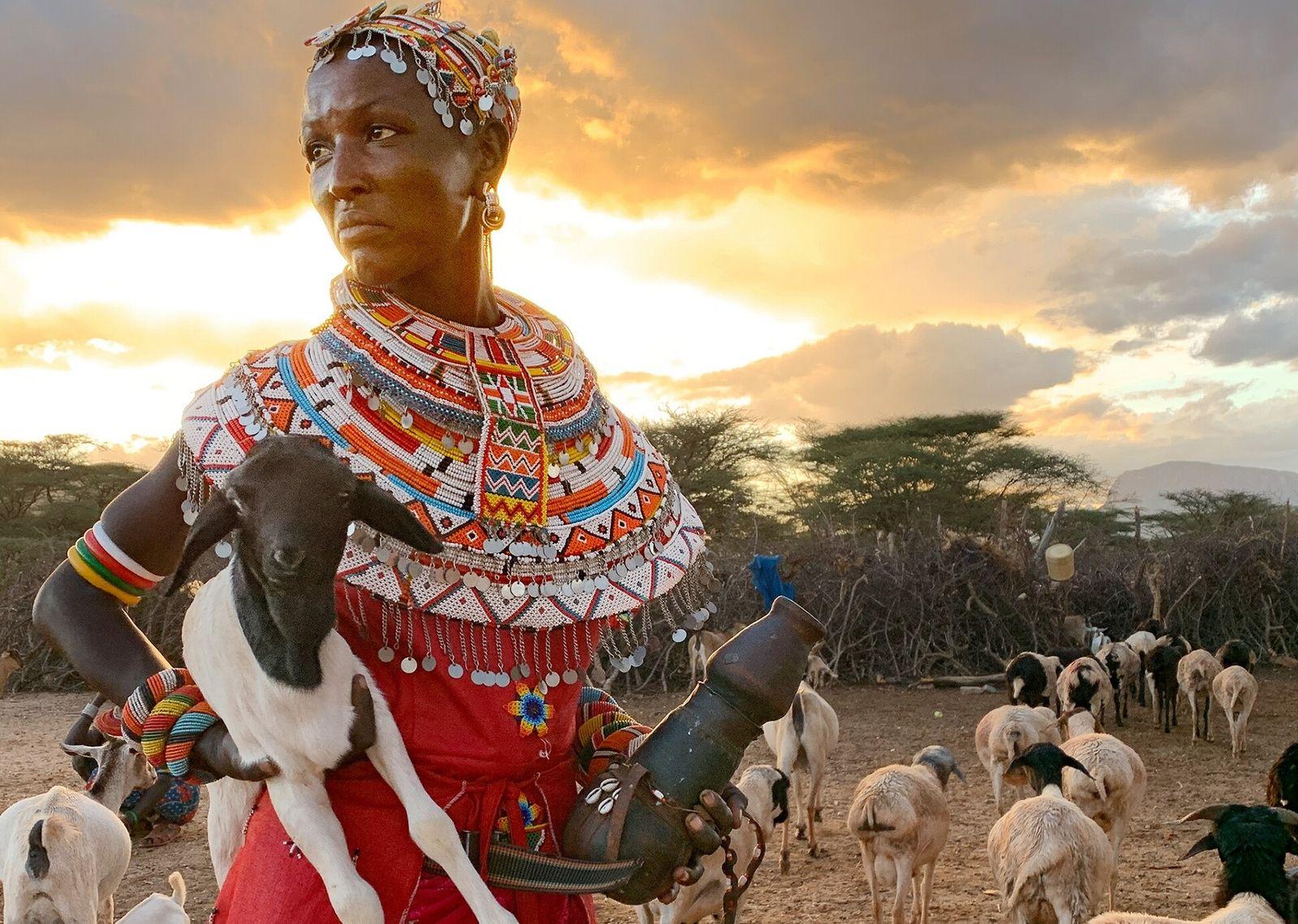 Mpayon Loboitong'o, 23 ans et mère de trois enfants, mène seule les chèvres de sa famille. ...