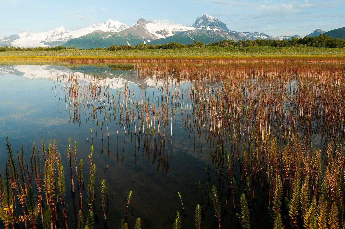 Avec un lac de cratère et de vastes champs de lave, le paysage géothermique du parc national ...