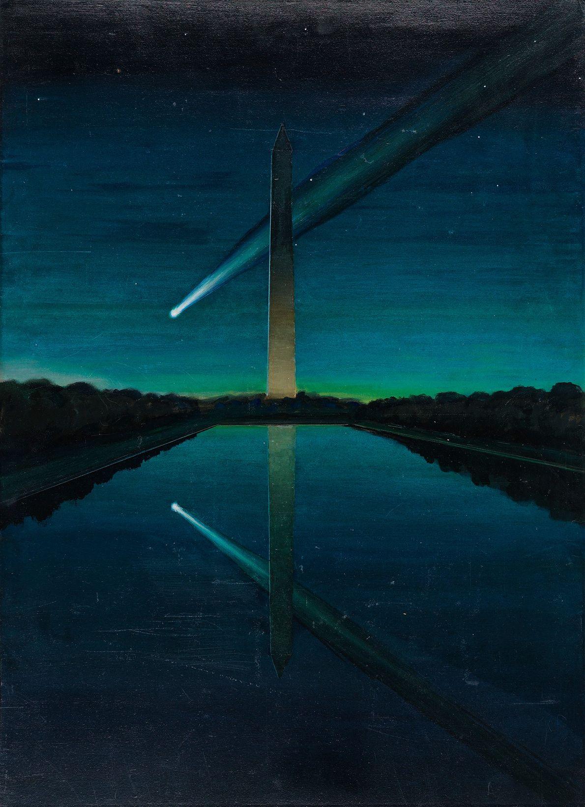 Une comète à la queue spectaculaire semble glisser devant le Washington Monument dans la capitale états-unienne ...
