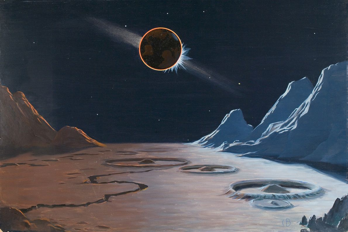 Ici, Bittinger a peint ce qui pourrait ressembler à une éclipse solaire provoquée par la Terre, ...