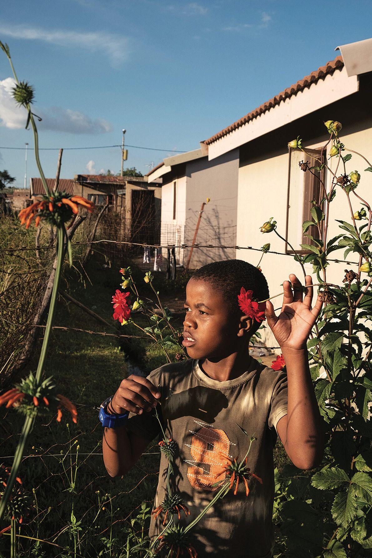 Savoir profiter de la nature. Johannesburg, Afrique du Sud. Dans un township de Johannesburg, des fleurs égaient ...