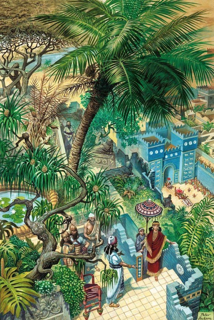 Dans cette illustration qui date du 20e siècle, on voit Nabuchodonosor II gravir les marches des ...