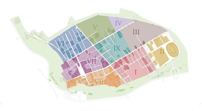 Au 19e siècle, l'archéologue Giuseppe Fiorelli divise Pompéi en régions et en blocs (insulae). Les nouvelles ...