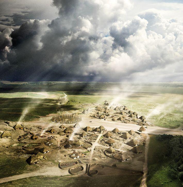Entre 2 800 et 2 400 av.J.-C. à Durrington Walls, un grand monument en bois a ...