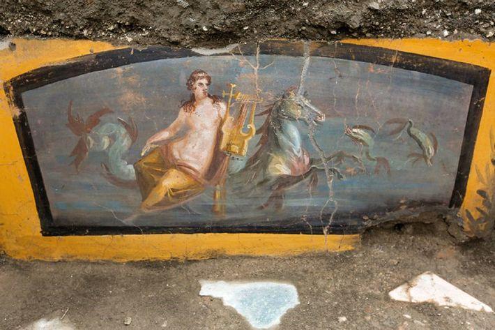 Cette fresque, nouvellement découverte dans la rue des balcons, représente une Néréide sur un hippocampe.