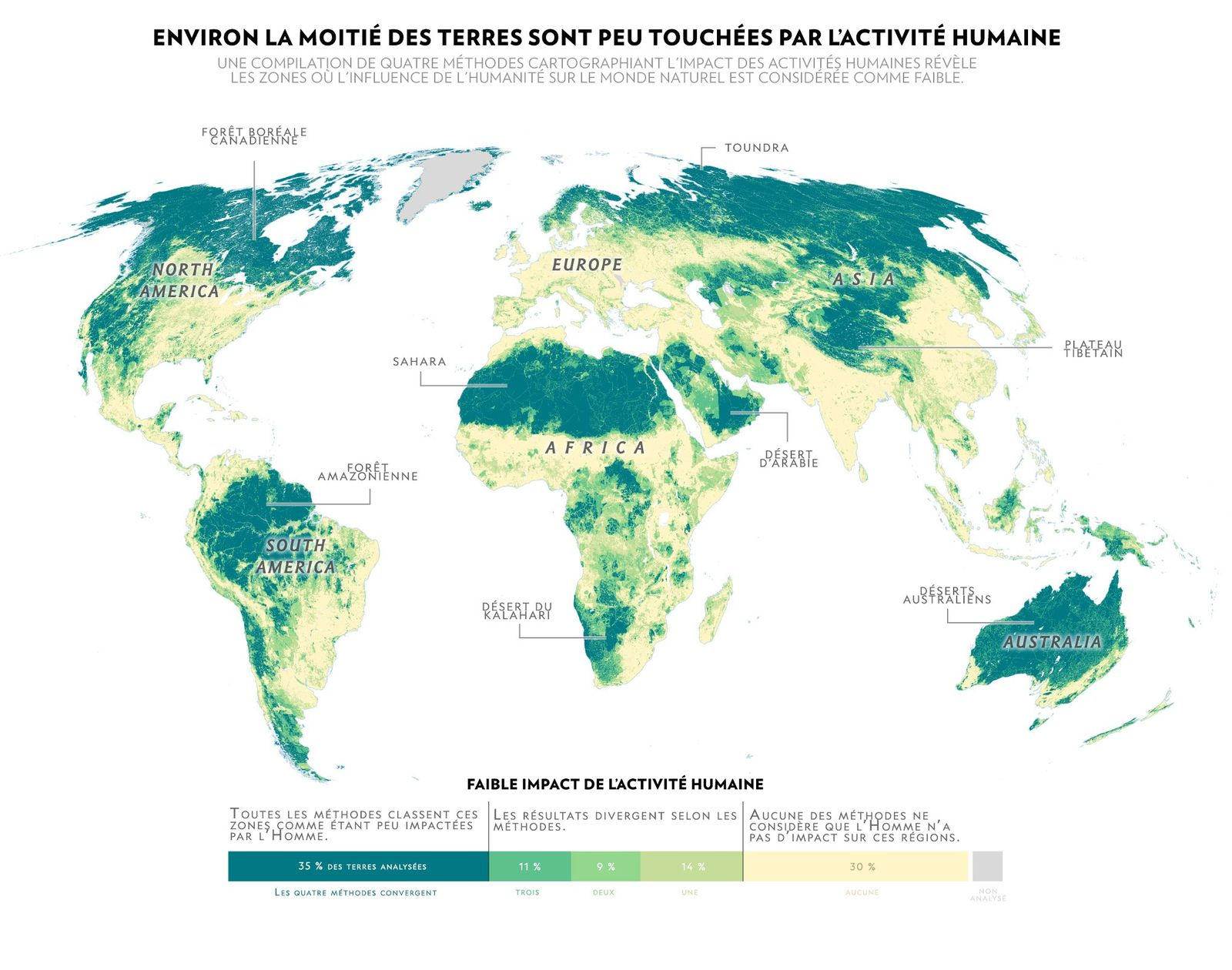 Cette nouvelle carterévèle les endroits les plus « sauvages » de la planète- là où l'Homme ...
