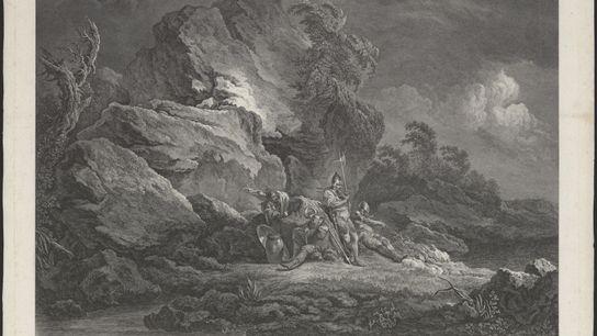 Sur cette gravure réalisée en 1778 apparaissent quatre mercenaires suisses au repos pendant une période d'accalmie. ...