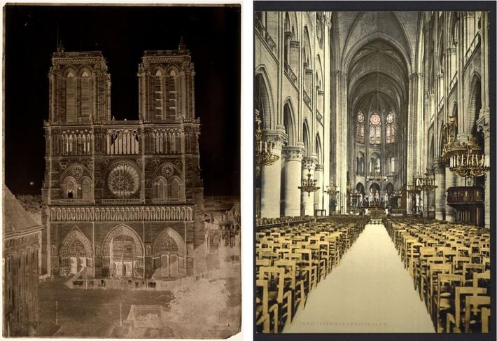 Gauche :Ce négatif sur papier ciré donne un aperçu de la façade de Notre-Dame de Paris ...