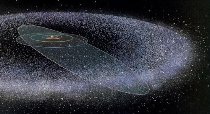 La formation du nuage de Oort avec le système solaire en son centre.