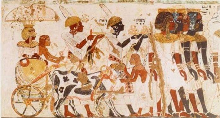 Arrivée d'une princesse nubienne à la cour égyptienne.