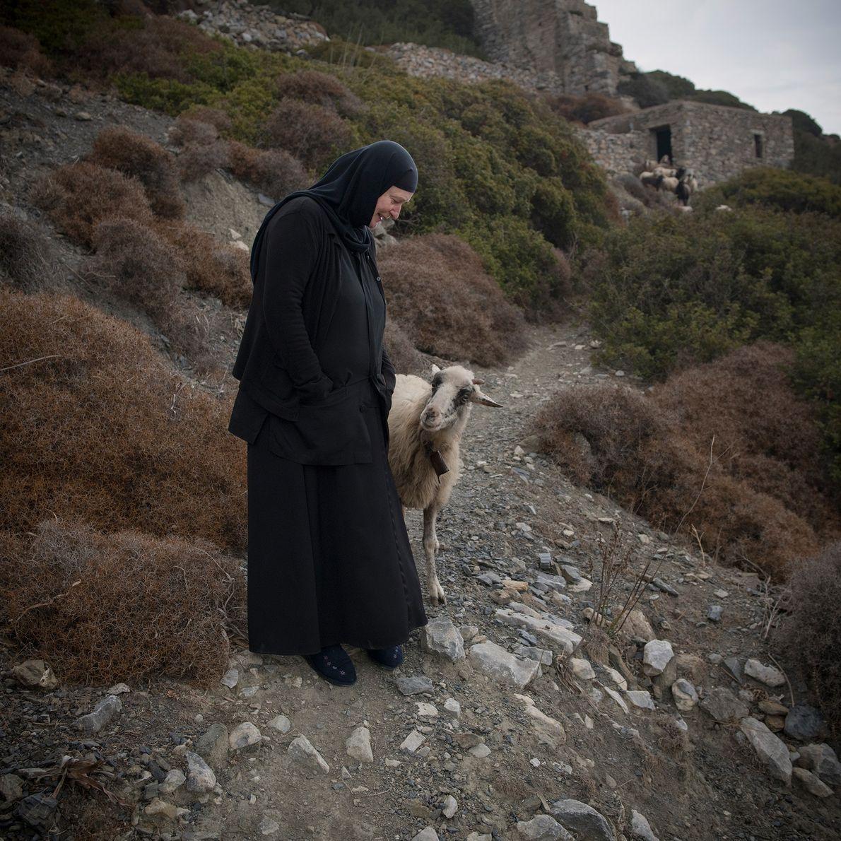 Accompagnée de quelques chèvres, Sœur Irini se promène en dehors de St. Valsamitis, situé à environ ...