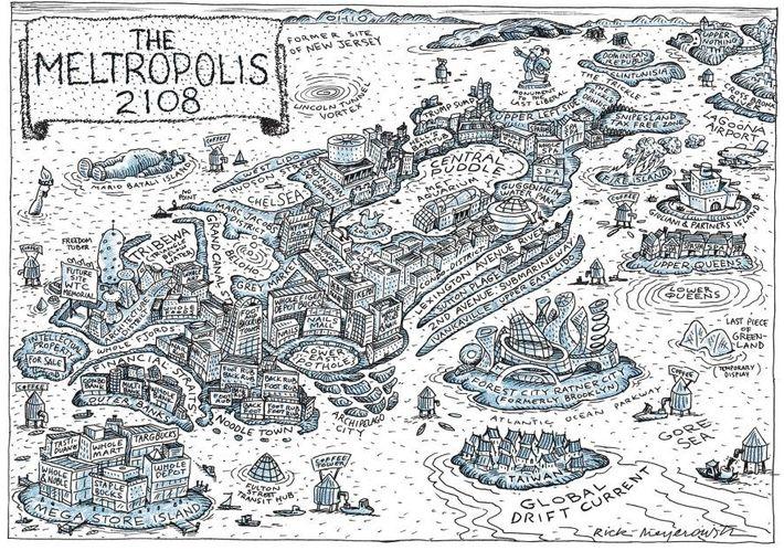Cette carte illlustrée de New York, réalisée en 2008 par le dessinateur Rick Meyerowitz, prédit ce ...