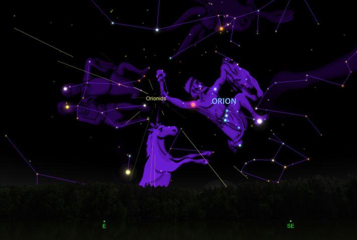 La pluie de météorites des Orionides semblera irradier depuis la constellation d'Orion, le chasseur.