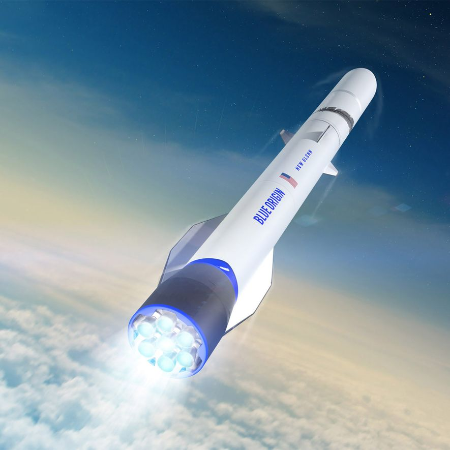 Cette illustration représente la fusée New Glenn, le véhicule orbital de Blue Origin.