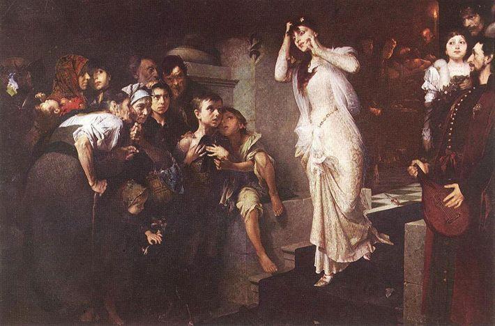 « L'épreuve du cercueil », tableau du peintre hongrois Jenő Gyárfás datant de 1881, montre une ...