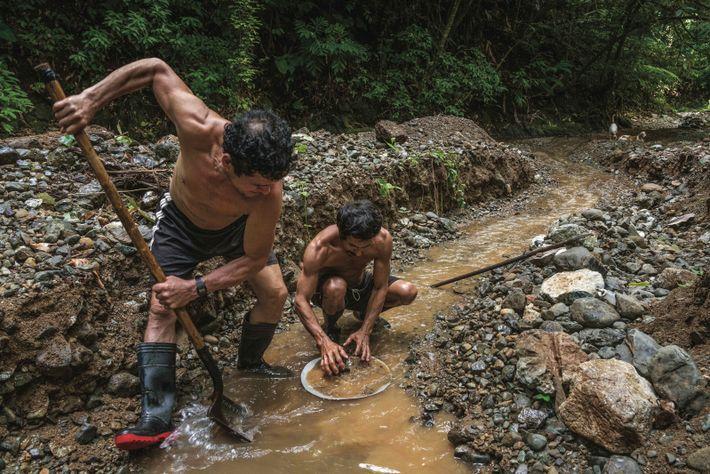 Deux chercheurs d'or travaillent dans un ruisseau, près du parc national Corcovado. Présent pendant des décennies ...