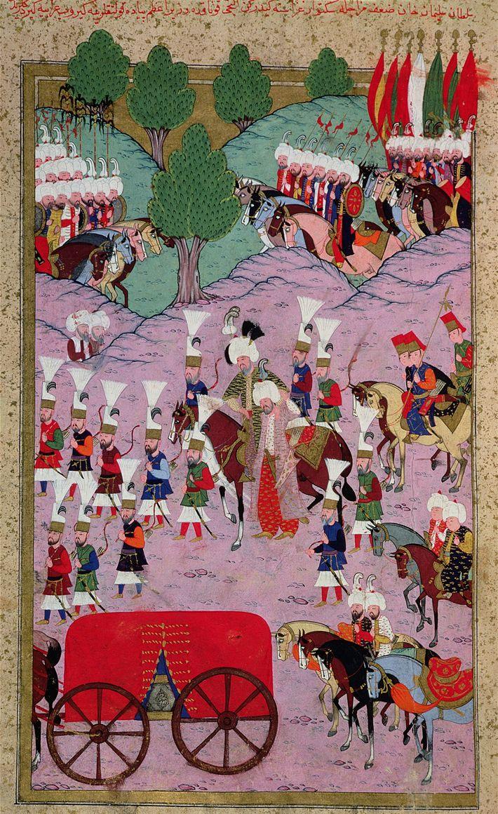 Cette miniature du 16e siècle représente l'armée de Soliman le Magnifique en marche vers l'Europe.