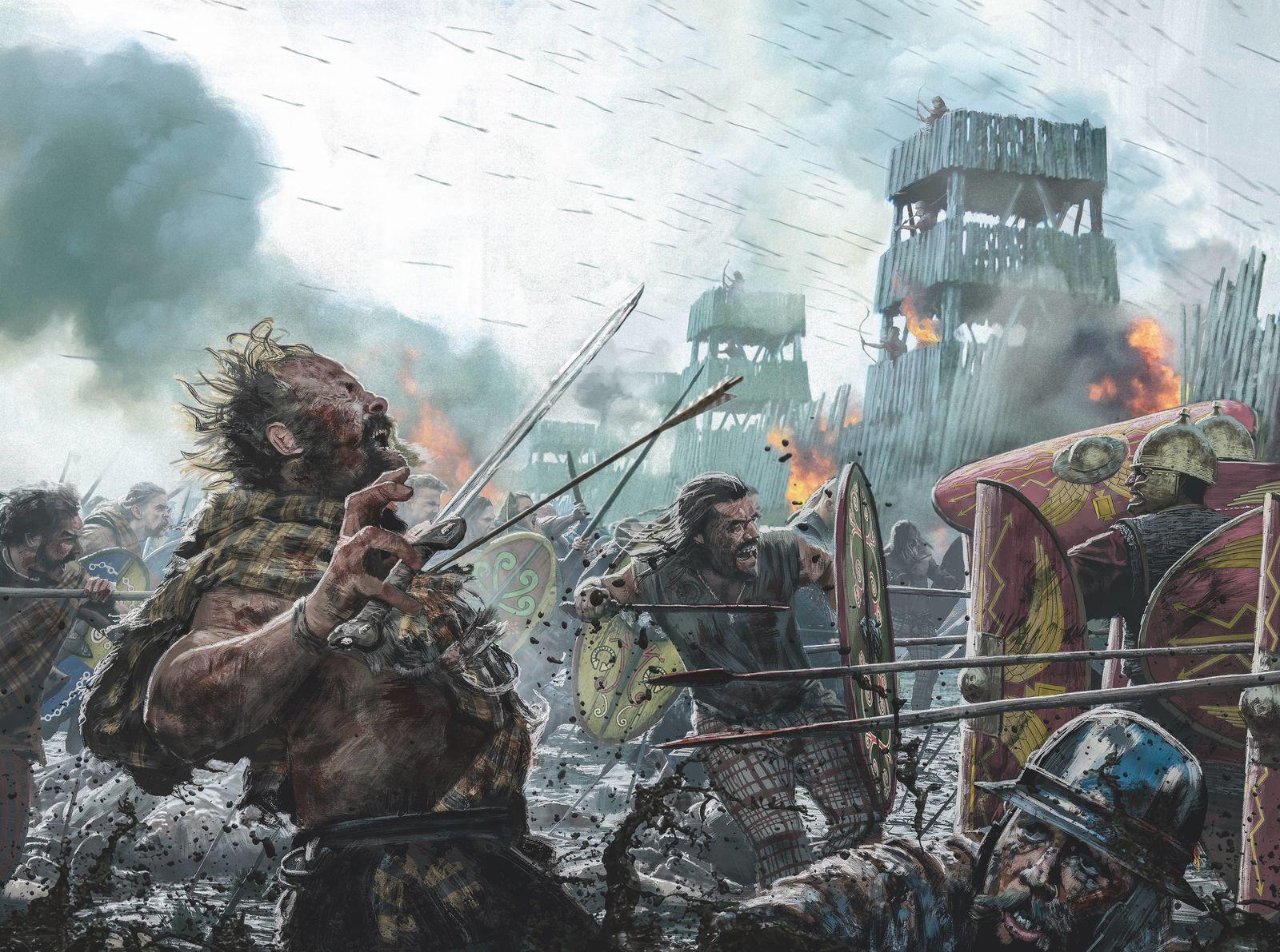 Alésia.Assiégés par les Romains, les Celtes, retranchés, combattirent pied à pied. Mais ils finirent par perdre ...