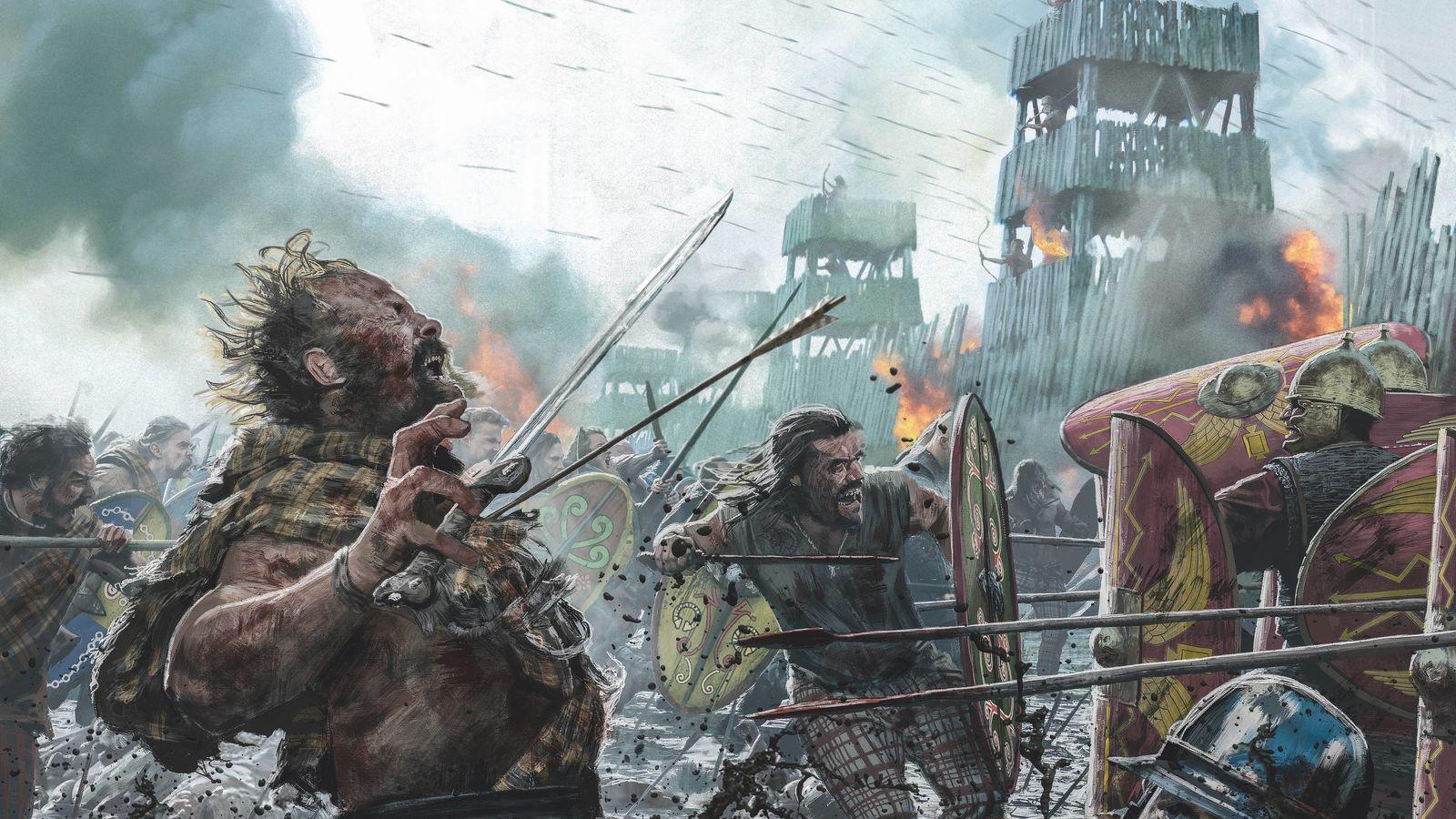 Alésia. Assiégés par les Romains, les Celtes, retranchés, combattirent pied à pied. Mais ils finirent par perdre ...