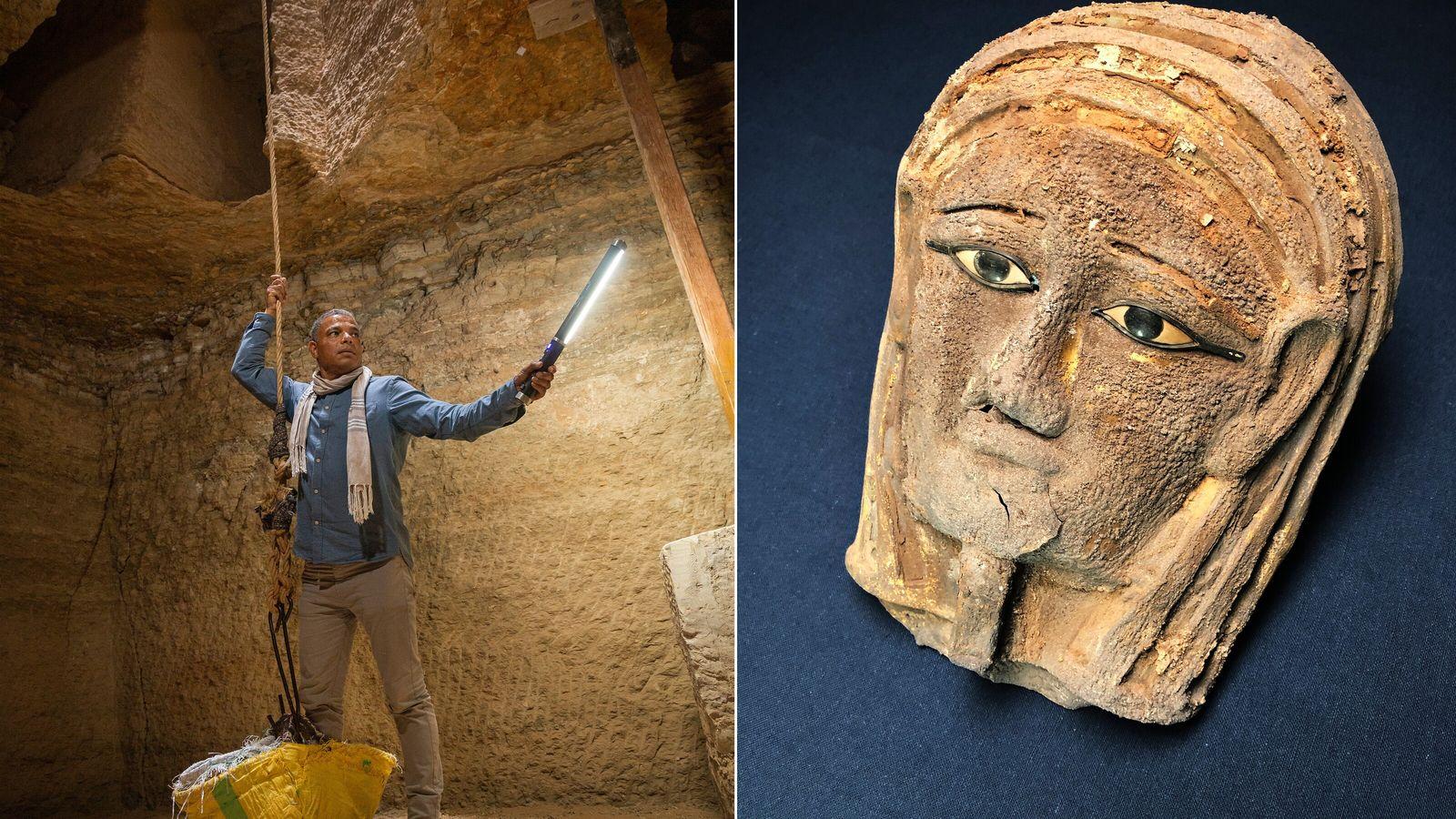 L'égyptologue Ramadan Hussein descend au moyen d'une corde et d'un panier dans l'atelier de momification exhumé ...