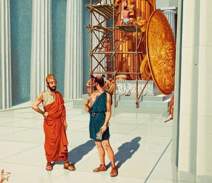 Cette peinture illustre un entretien entre Périclès (à gauche) et Phidias à propos de la création ...