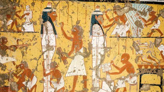 L'art funéraire égyptien n'était pas réservé aux âmes bien nées. Un détail du tombeau d'un sculpteur de Deir ...