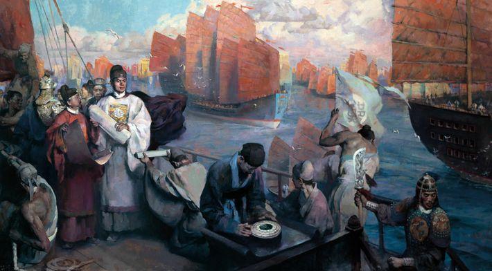 Devant les puissants navires au trésor sous son commandement, Zheng He est représenté vêtu de blanc ...
