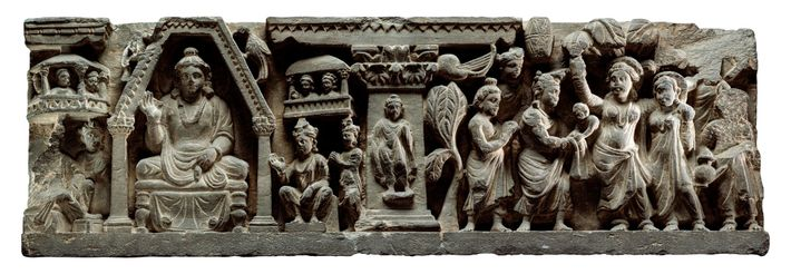 Dans ce relief du 2e ou 3e siècle après J.-C. découvert dans l'actuel Pakistan et exposé au Musée ...
