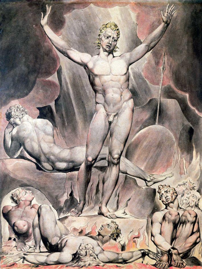 """Inspirée du poème """"Paradis perdu"""" de Milton, la gravure de William Blake datant de 1808 représente ..."""