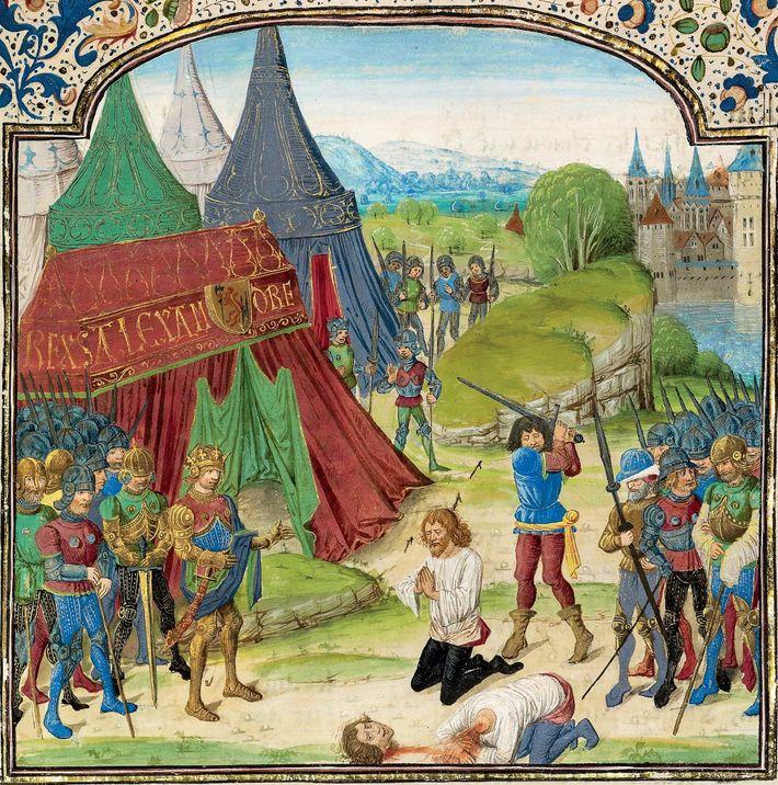 Les conseillers d'Alexandre firent front commun face à Philotas, persuadant le roi d'autoriser sa torture : ...