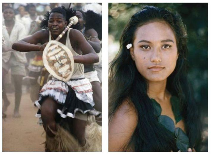 """Gauche : Des mineurs d'or sud-africains """"fascinés par des tambours foudroyants"""" lors de """"vigoureuses danses tribales"""", ..."""