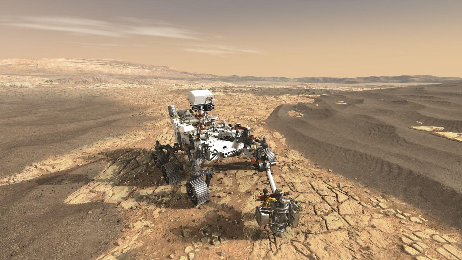 Le rover Mars 2020 récoltera des échantillons de sédiments près du cratère de Jezero, dans le ...