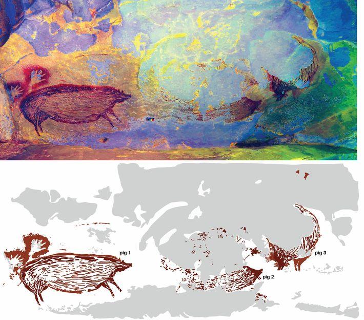 La peinture rupestre découverte dans la grotte dépeindrait une scène où interagissent plusieurs sangliers. L'érosion ayant ...