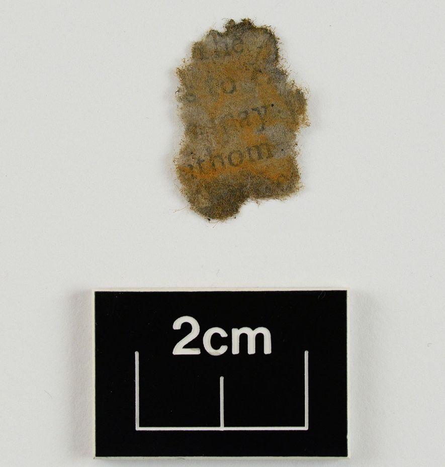 Un fragment de papier, nettoyé et séché après avoir été retiré du canon chargé, mis au ...