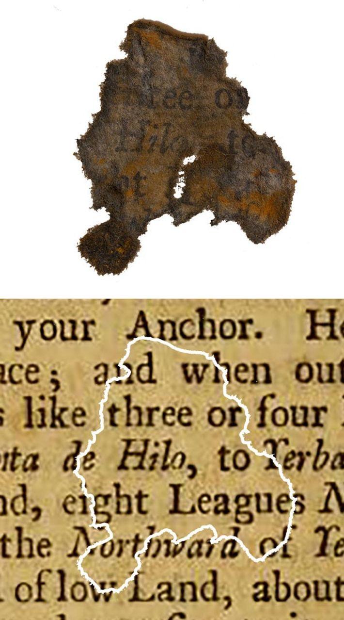 Un fragment de papier découvert sur l'épave du navire de Barbe Noire, le Queen Anne's Revenge, ...