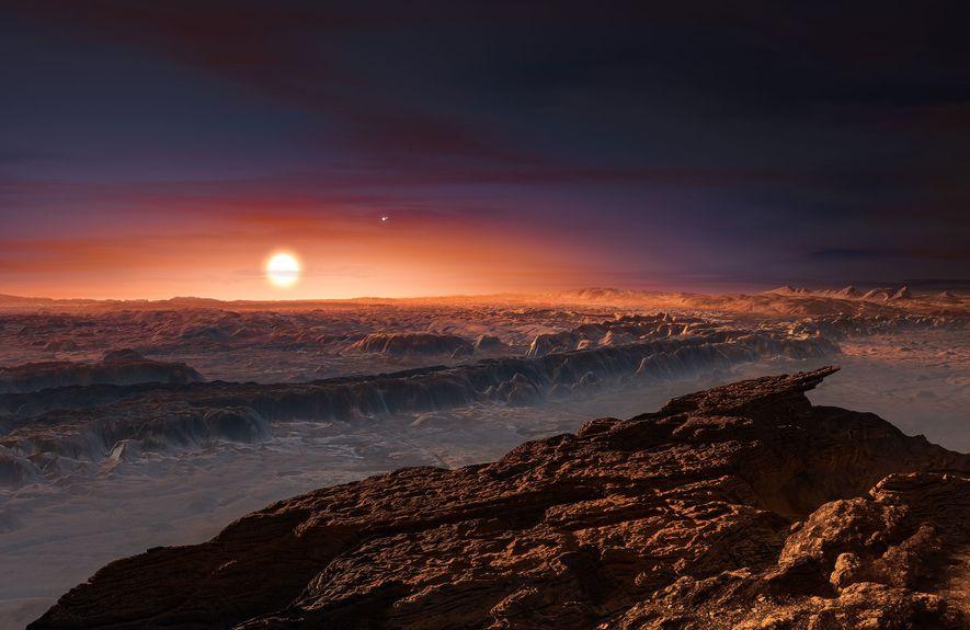 La lumière rouge de l'étoile au cœur d'Alpha du Centaure C retombe sur la surface de ...