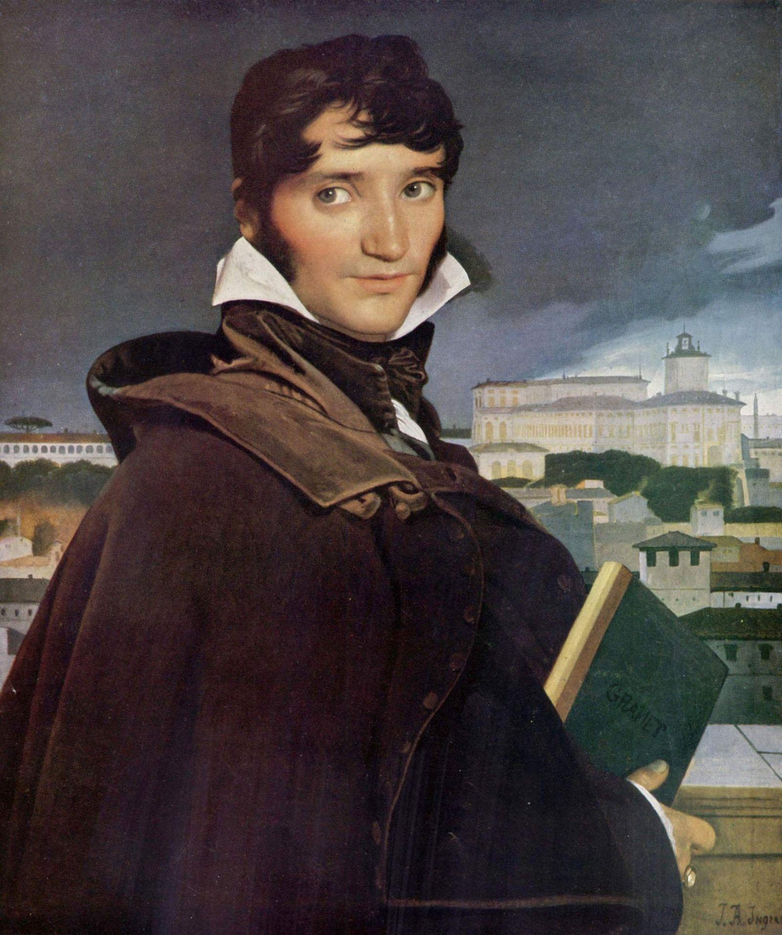 Ingres a réalisé le portrait de Francois-Marius Granet, selon la représentation imaginée qu'il se fait du ...