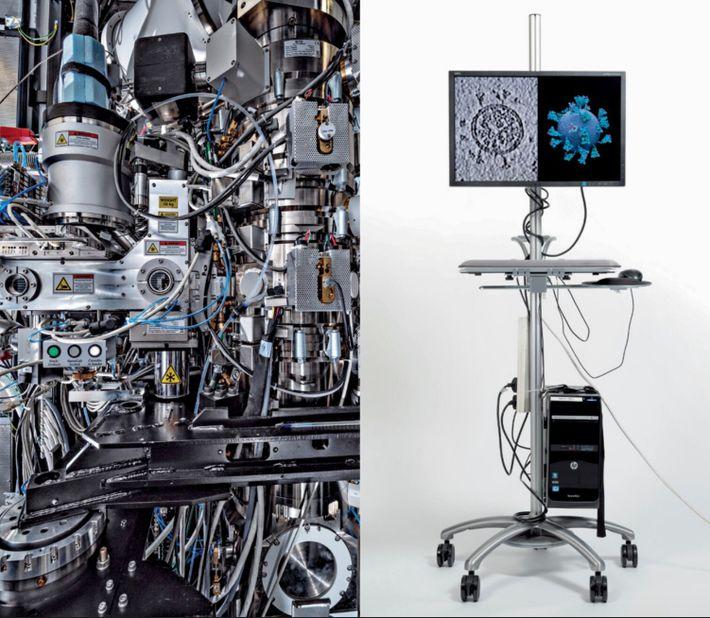 Un microscope électronique à transmission cryogénique vu de l'intérieur (à gauche). L'instrument, qui peut créer des images ...