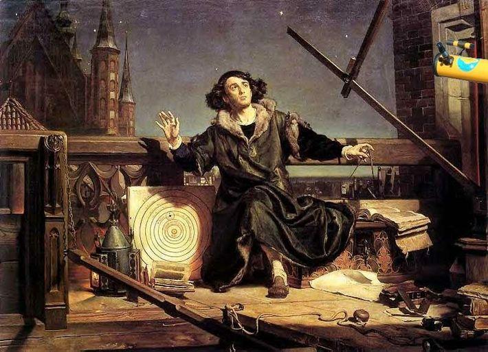 Copernic observant le ciel depuis sa tour de Frombork. 1873 peinture à l'huile de Jan Matejko.