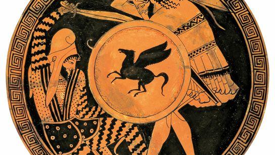 Un hoplite grec lourdement armé (droite) affronte un soldat perse dans ce détail d'une poterie datée du ...