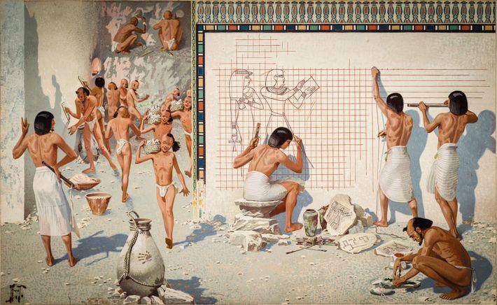 Des artisans égyptiens préparent les murs d'une tombe pour sa décoration. Le plâtre est appliqué et lissé ...