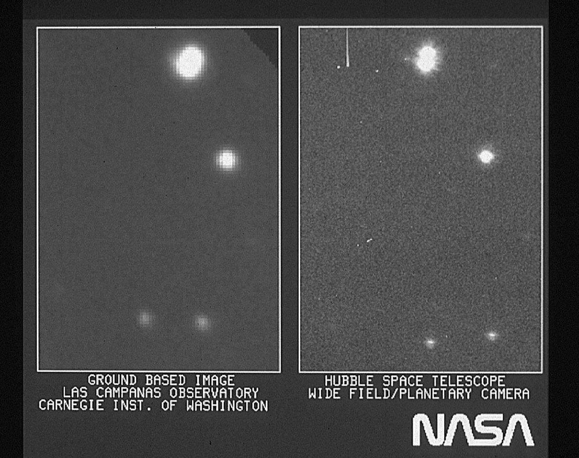 Quelle était la qualité des premières images transmises par Hubble par rapport aux télescopes terrestres? Ci-dessus ...