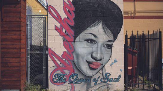 Franklin est représentée sur une peinture murale de Fel'le, un artiste de Détroit. En 2017, la ...