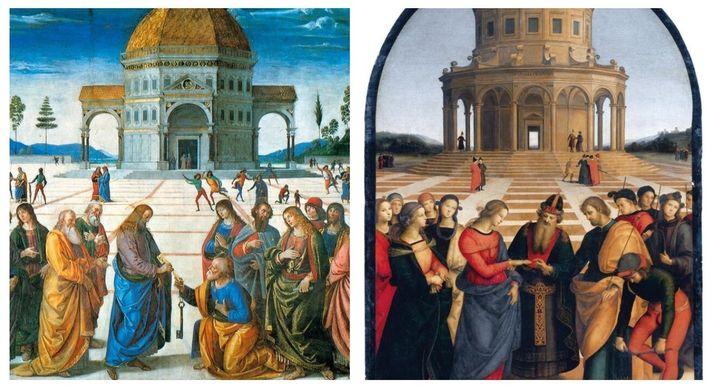 À gauche : Détail de La Remise des clefs à Saint-Pierre, peint par Pietro Perugino en 1481. Chapelle ...
