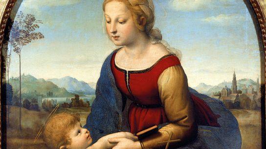 Le tableau La Belle Jardinière, également connu sous le nom de La Vierge à l'enfant avec ...