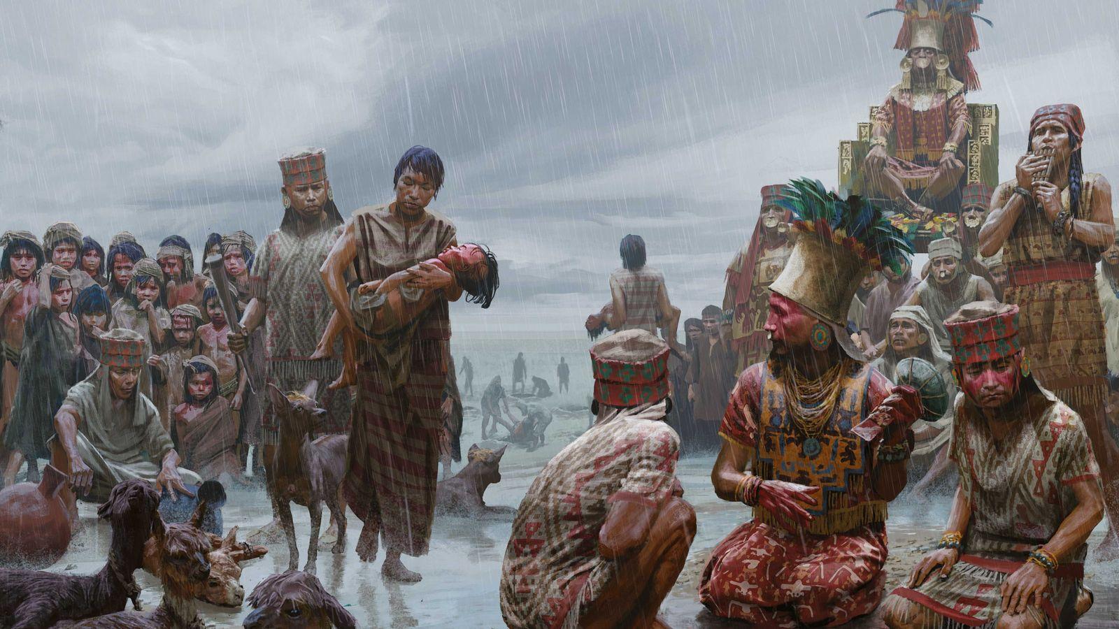 Dans cette scène reconstituée, un bourreau chimú attend une jeune victime du sacrifice collectif, à Huanchaquito. ...