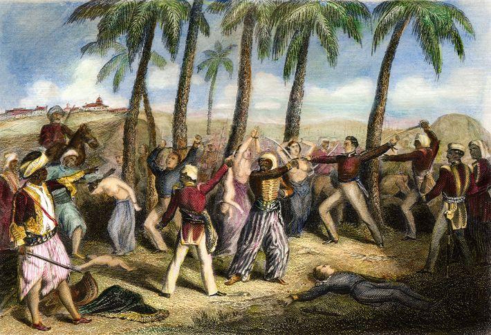 Des rebelles indiens massacrent un groupe d'officiers britanniques et leurs familles à Jhansi en 1857, dans cette ...
