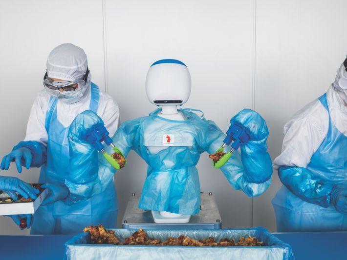Conçu par RT Corporation, le robot collaboratif («cobot ») Foodly utilise une vision perfectionnée, des algorithmes ...