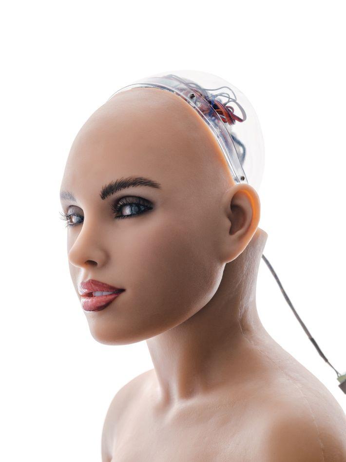 Harmony, tête parlante au visage expressif qui se fixe à une poupée sexuelle fabriquée par Abys Creations, ...