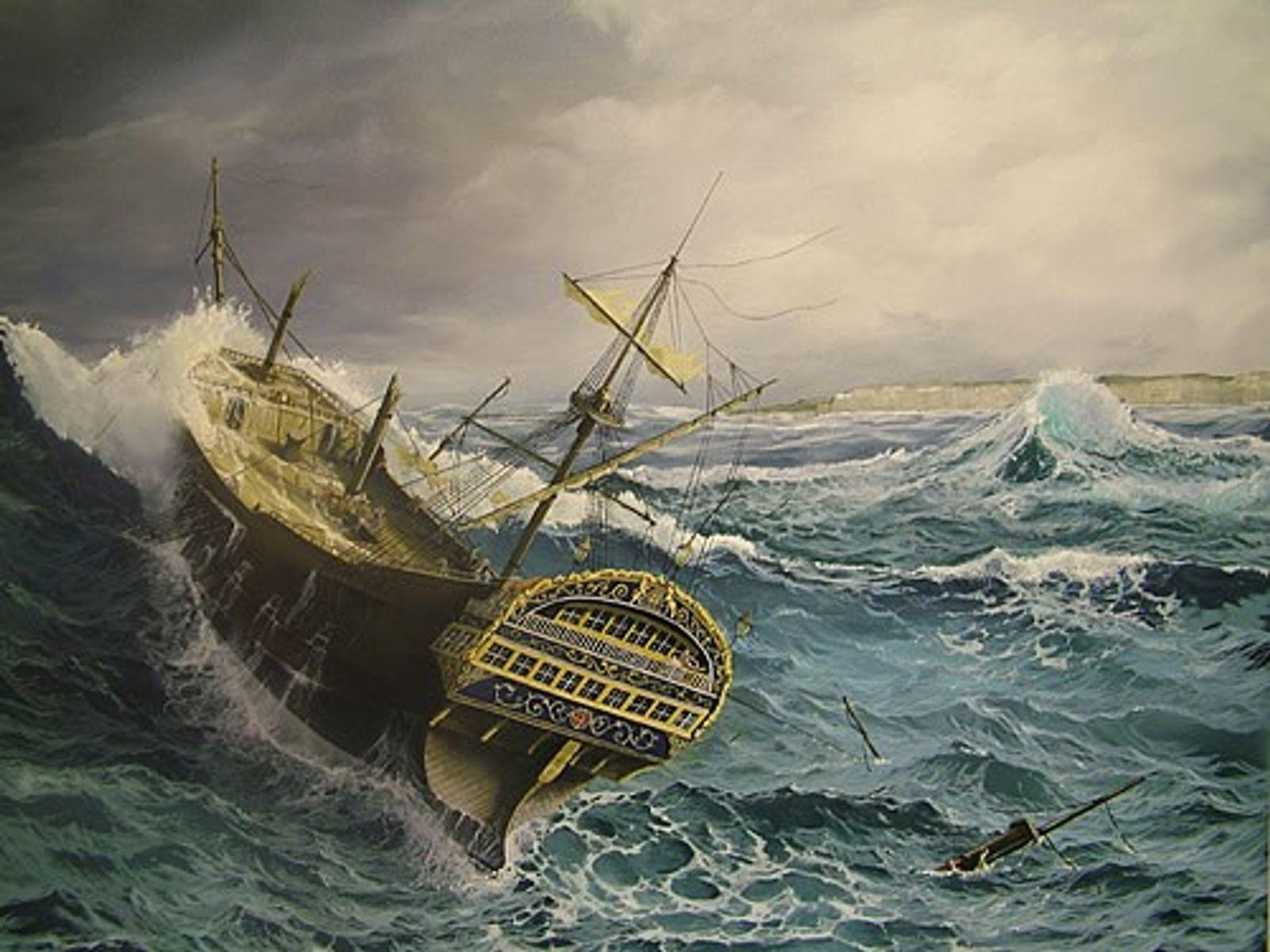 Le Rooswijk (navire de la Compagnie néerlandaise des Indes orientales) représenté en plein naufrage sur cette ...